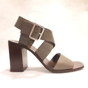 BOEMOS Grey Strappy Leather Heeled Sandals Shoe